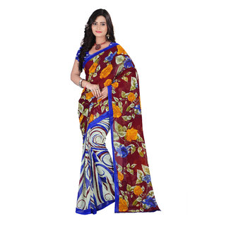 Aaina Brown & Blue Faux Georgette Printed Saree
