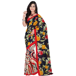 Aaina Black & Red Faux Georgette Printed Saree