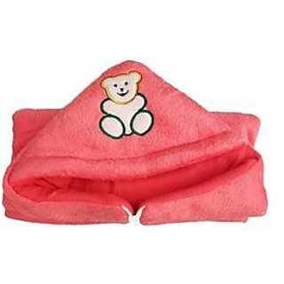 Garg Teddy Design Hooded Fur Light Red Baby Blanket With Zip