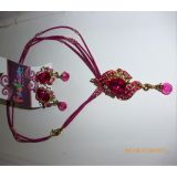 A Very Cute Party Wear Jewellery Set With Earings In Pink Colour