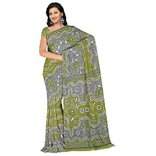 Fabdeal Casual Wear Green Color Heavy Faux Georgette Saree