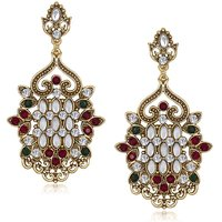 Kriaa Antique Gold Red  Green Austrian Stone Kundan Earrings - 1305518