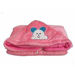 Garg Teddy Design Hooded Fur Pink Baby Blanket With Zip