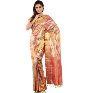 Kanchipuram Silk And Cotton Sarees yellow colour with red border