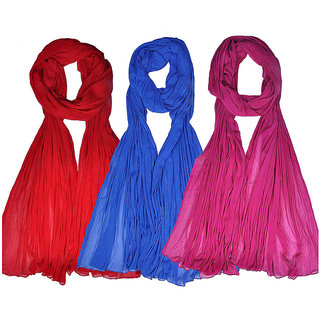Womens Cottage Combo Pack of 3 Chiffon Dupattas
