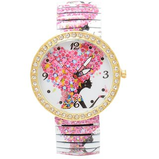 shopaholic fashion  florel stretchable watch