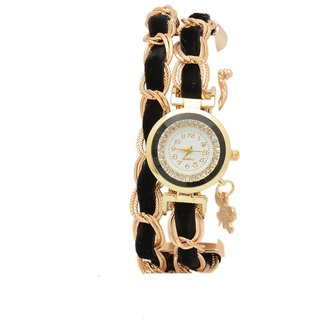 shopaholic fashion black velvet ribben bracelet watch
