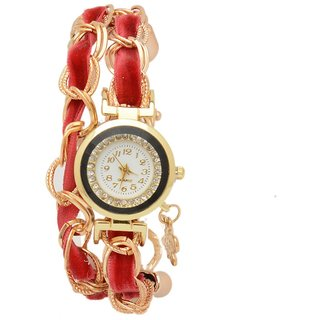 shopaholic fashion mehroon velvet ribbon bracelet watch