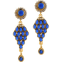 Kriaa Blue Pota Kundan Pearl Austrian Stone Gold Finish Dangle Earrings