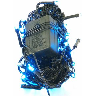 Singh Xpress High Quality Super Bright 3m LED Ladi with Changer (Combo of 5) Rice Light - Blue