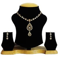 The Pari GoldenSilver Alloy Gold Plated Necklace Set For Women