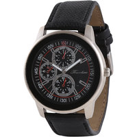 Timebre Round Dial Black Leather Strap Mens Watch