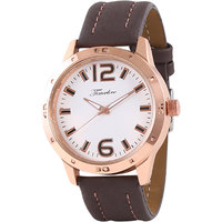 Timebre Round Dial Brown Leather Strap Mens Quartz Watch