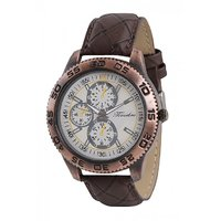 Timebre Round Dial Brown Leather Strap Mens Watch