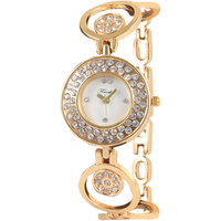 Timebre White Round Dial Gold Metal Analog Watch For Women