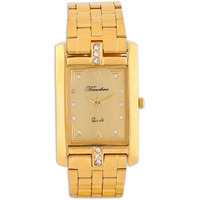 Timebre Square Dial Gold Metal Strap Quartz Watch For Men