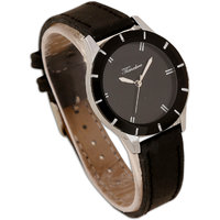 Timebre Round Dial Black Leather Strap Women Quartz Watch