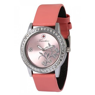 Timebre Round Dial Red Leather Strap Women Quartz Watch