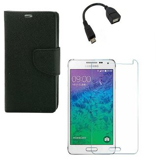 Ygs Diary Wallet Case Cover  For   Samsung Galaxy J2-Black  With Tempered Glass ,Micro Otg