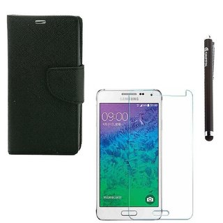 Ygs Diary Wallet Case Cover  For   Samsung Galaxy J2-Black  With Tempered Glass  And Griffin Stylus Pen