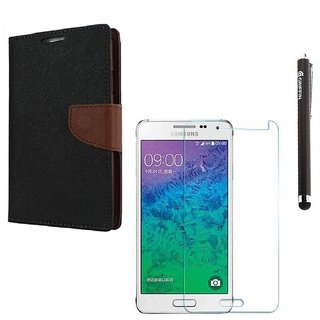 Ygs Diary Wallet Case Cover  For   Samsung Galaxy J2-Black Brown With Tempered Glass  And Griffin Stylus Pen