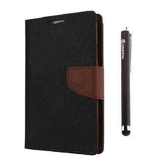 Ygs Diary Wallet Case Cover  For   Samsung Galaxy J2-Black Brown And Griffin Stylus Pen