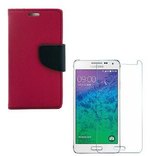 Ygs Diary Wallet Case Cover  For   Samsung Galaxy J2-Pink With Tempered Glass