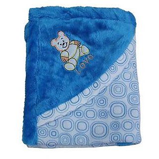 Garg Teddy Love Fur Design Polar Fleece Blue Blanket With Hood