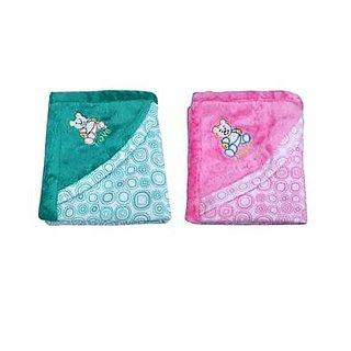 Garg Teddy Love Fur Design Polar Fleece Green  Pink Blanket Combo With Hood