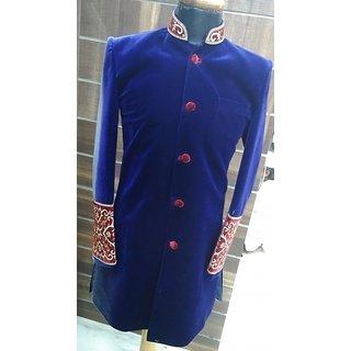 blue indowestern sherwani
