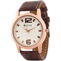 T STAR UFT-TSW-005-WH-BR White Dial Brown Strap Round Analog Watch For Men
