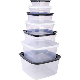 Bel Casa Diamond Container Set of 7 Pieces, White and Black