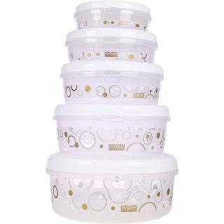 Ratan Plastics Sapphire Container Set of 5, White