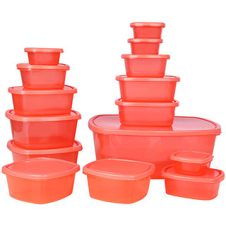Ratan Plastics Set of 15 Pieces, Red