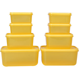 Ratan Plastics Vega Set of 8 Pieces , Yellow