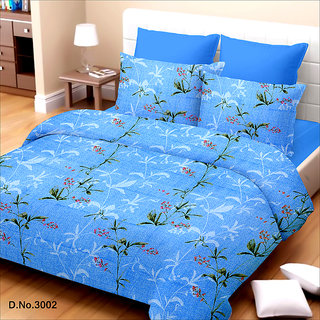 King Size Blue Cotton Bed Sheet (TSJ-08)