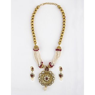 Bridesmaid High Gold Long Necklace Set Studded with Pearl And Maroon  White Stone