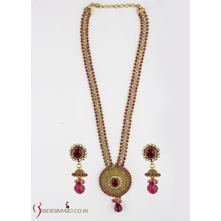 Bridesmaid High Gold Long Necklace set studded With Pink And White Stone
