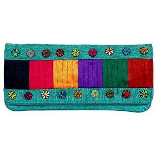 Ethnic Multicolor Work Clutch Purse