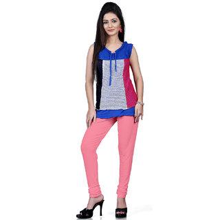 DesiButiks Light Pink Coloured Cotton Lycra Leggings BBL1012