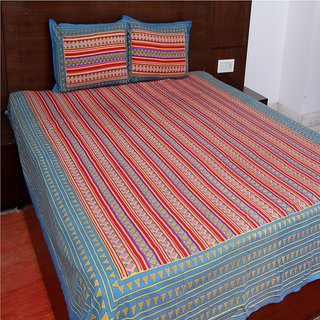 Kanhaa Cotton Double Bedsheet with 2 Pillow Covers King Size Striped Blue