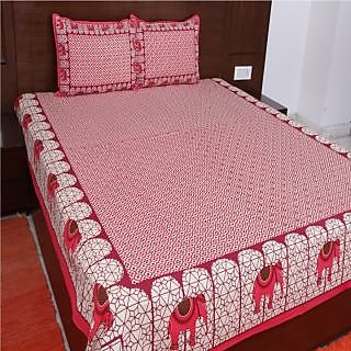 Kanhaa Cotton Double Bedsheet with 2 Pillow Covers King Size Floral Pink