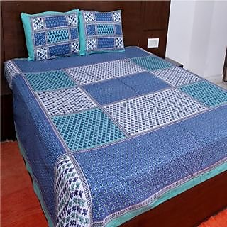 Kanhaa Cotton Double Bedsheet with 2 Pillow Covers King Size Floral Blue