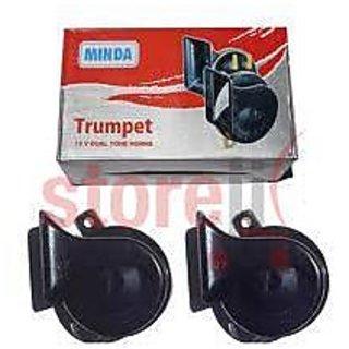 Minda Dual Tone Black Trumpet Horn 12V Skoda Type High Low For Bikes Car