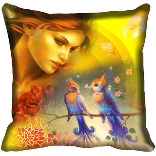 meSleep Nature Girl Digitally Printed Cushion Cover (16x16)