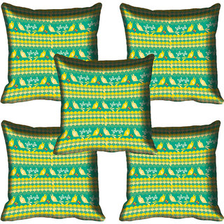 meSleep Green Birds Digitally Printed Cushion Cover (16x16)