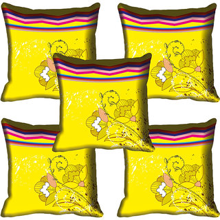 meSleep Yellow Floral Digitally Printed Cushion Cover (16x16)