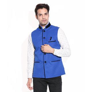 Akaas Mens Blue Nehru Jacket