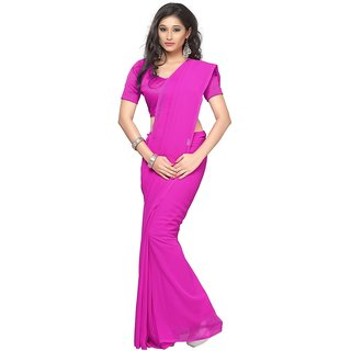 Surupta Facinating Dark Pink Color Plain Chiffon Saree