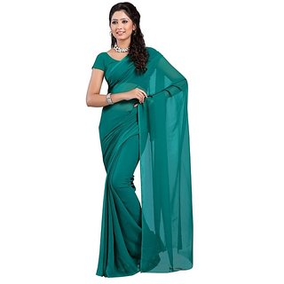 Surupta  Radiant Rama Green Color Plain Chiffon Saree